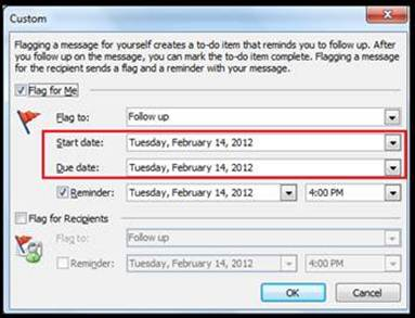 Response Reminder in Outlook Mail